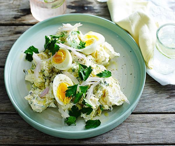"**[Classic egg and potato salad](https://www.gourmettraveller.com.au/recipes/fast-recipes/classic-egg-and-potato-salad-13558 target=""_blank"")**"