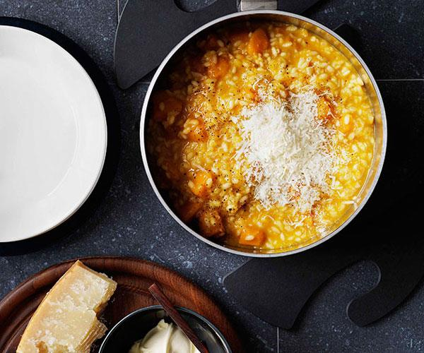 Pumpkin and vermouth risotto with parmesan and mascarpone