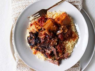 Braised pumpkin and lamb neck