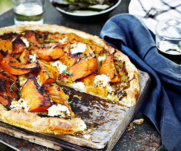 """[**Pumpkin, goat's curd and thyme tart**](https://www.gourmettraveller.com.au/recipes/browse-all/pumpkin-goats-curd-and-thyme-tart-11406