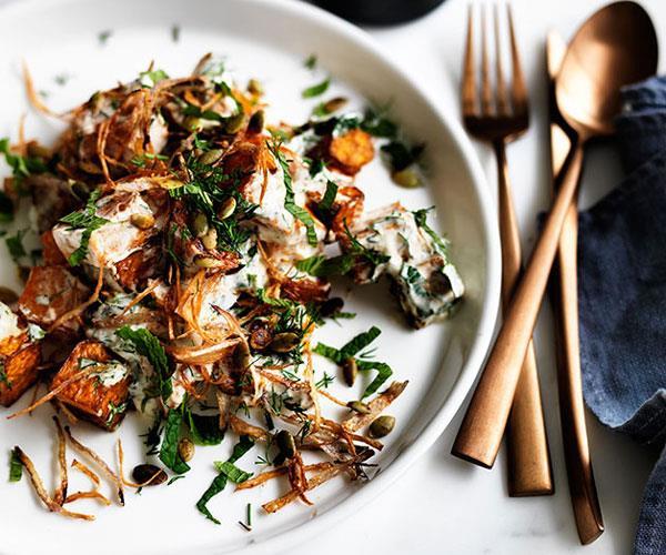 Fried pumpkin with yoghurt-herb dressing and crisp onion