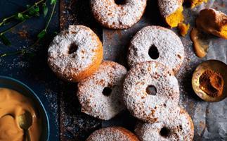 Spiced pumpkin fritters with dulce de leche cream