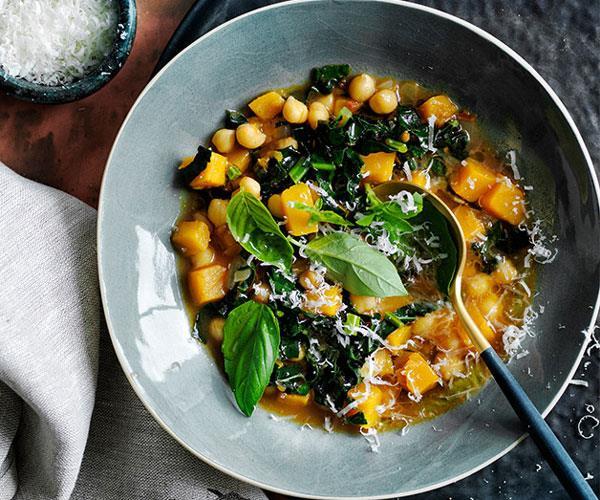 Chickpea, pumpkin and cavolo nero soup recipe