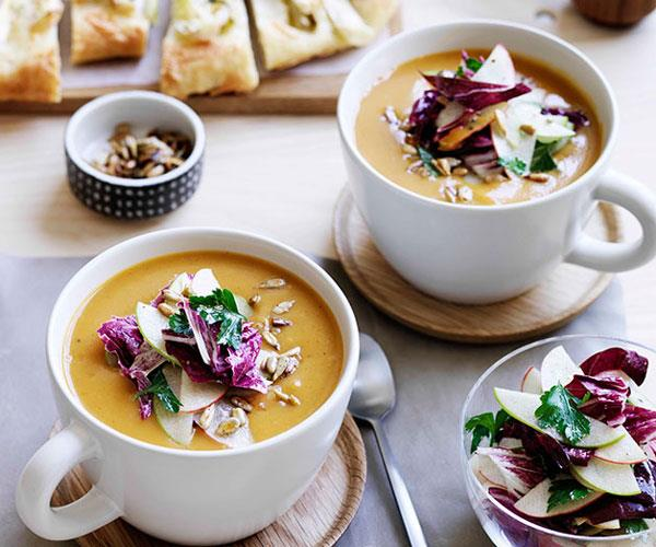 "**[Spiced pumpkin soup](http://www.gourmettraveller.com.au/recipes/browse-all/spiced-pumpkin-soup-13948|target=""_blank"")**"