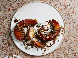 Tamari-roasted pumpkin, sunflower and horseradish