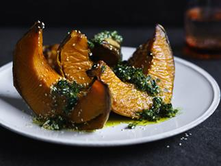 Roasted pumpkin with zhoug