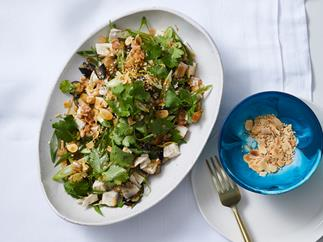 Shane Delia's poached chicken salad with harissa, eggplant, spring onion and tahini