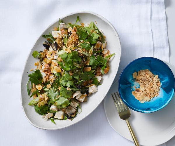 "**[Shane Delia's poached chicken salad with harissa, eggplant, spring onion and tahini](https://www.gourmettraveller.com.au/recipes/chefs-recipes/chicken-salad-eggplant-17964|target=""_blank"")**"