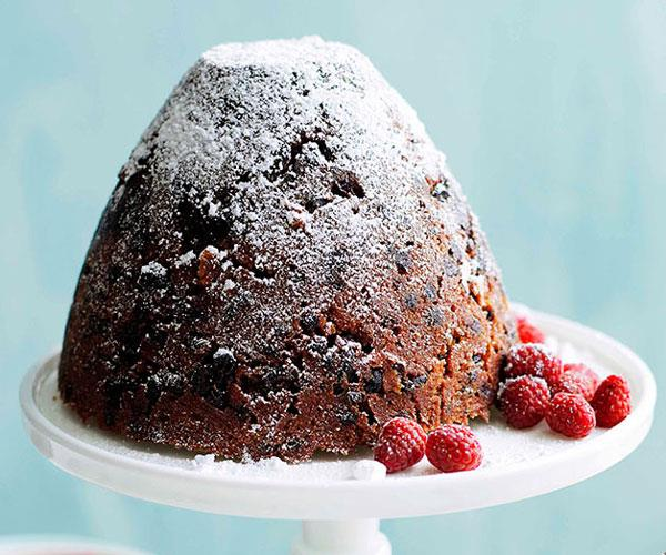 Rich Christmas pudding with muscat custard