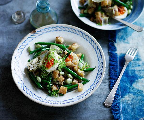 """**[Artichoke salad with green beans, egg and anchovy dressing](https://www.gourmettraveller.com.au/recipes/browse-all/artichoke-salad-with-green-beans-egg-and-anchovy-dressing-12078