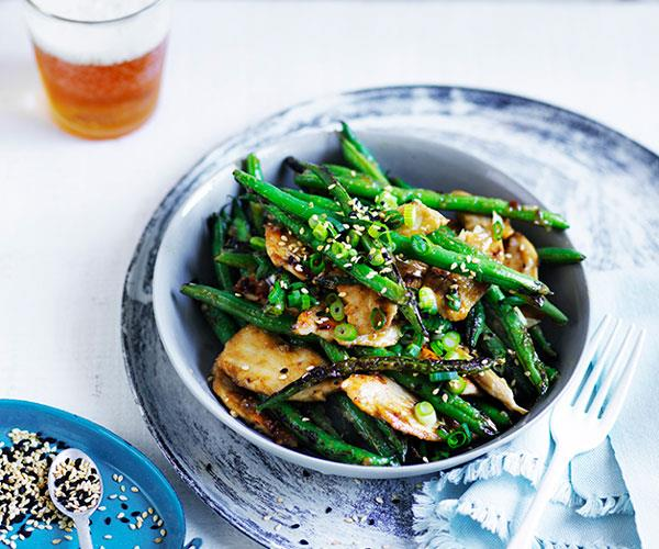 Miso chicken and green beans with sesame