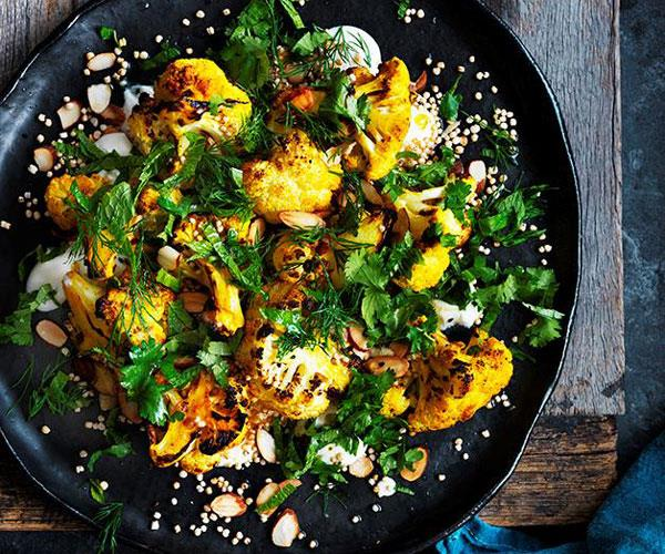 "**[Roasted cauliflower salad with yoghurt dressing and almonds](https://www.gourmettraveller.com.au/recipes/browse-all/roasted-cauliflower-salad-with-yoghurt-dressing-and-almonds-12690 target=""_blank"")**"
