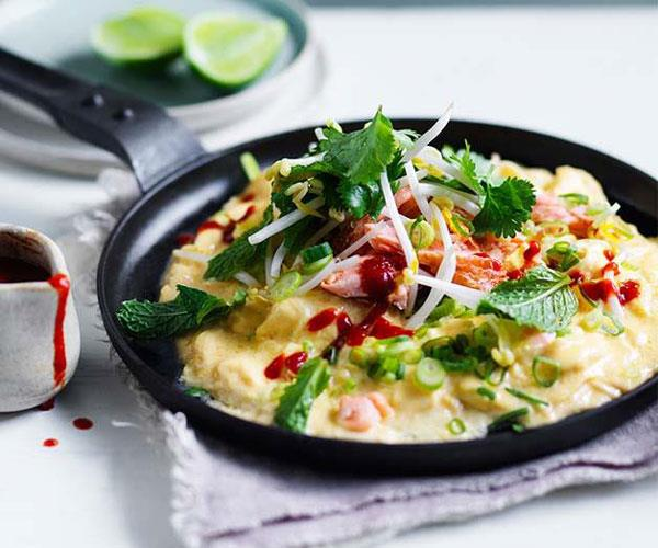 """**[Smoked trout scramble](https://www.gourmettraveller.com.au/recipes/browse-all/smoked-trout-scramble-12796 target=""""_blank"""")**"""