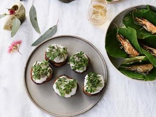 Brae's herb toasts with hand-dived scallops