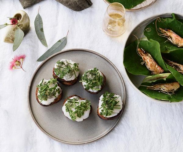 "**[Brae's herb toasts with hand-dived scallops](https://www.gourmettraveller.com.au/recipes/chefs-recipes/herb-toasts-scallops-17990|target=""_blank"")**"
