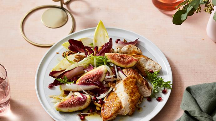 Roast chicken breasts with figs, tahini and pomegranate