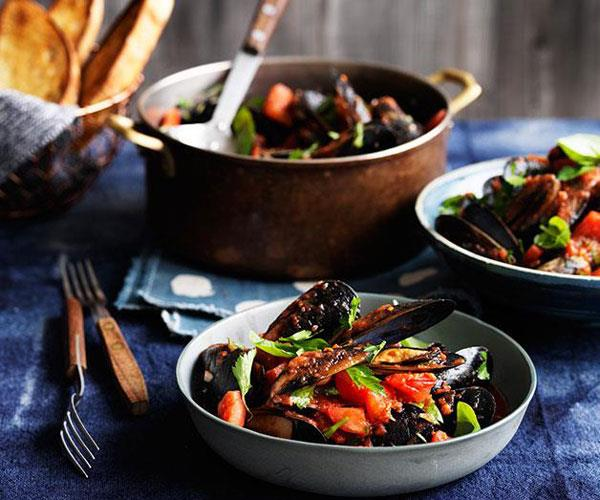 "**[Bar Alto's mussels with chilli, garlic and white wine](https://www.gourmettraveller.com.au/recipes/chefs-recipes/mussels-with-chilli-garlic-and-white-wine-9229|target=""_blank"")**"