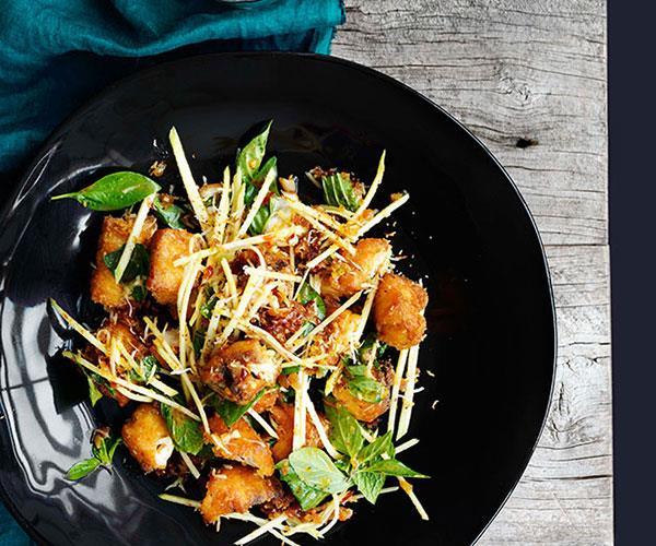 "**[Crisp barramundi, green mango and roast coconut salad](https://www.gourmettraveller.com.au/recipes/browse-all/crisp-fish-green-mango-and-roast-coconut-salad-11106|target=""_blank"")**"
