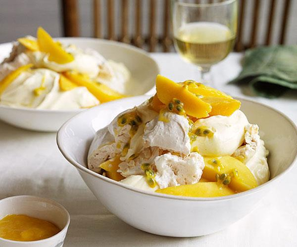 """**[Mango and passionfruit mess](http://www.gourmettraveller.com.au/recipes/browse-all/mango-and-passionfruit-mess-11858 target=""""_blank"""")**"""