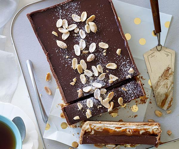 "[**Nougat, salted peanut caramel and milk chocolate tart**](https://www.gourmettraveller.com.au/recipes/browse-all/nougat-salted-peanut-caramel-and-milk-chocolate-tart-11939|target=""_blank"")"