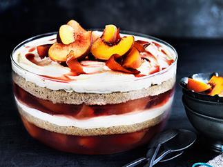 Peach, almond and prosecco trifle