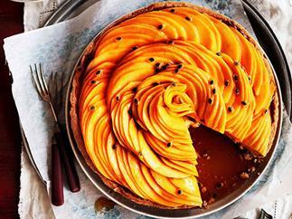 Golden mango and passionfruit caramel tart