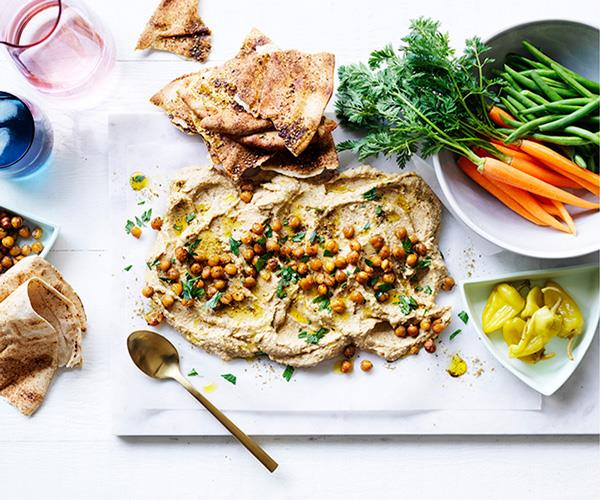 "**[Roasted cauliflower and tahini dip with crudités and flatbread](http://www.gourmettraveller.com.au/recipes/browse-all/roasted-cauliflower-and-tahini-dip-with-crudites-and-flatbread-12909|target=""_blank"")**"