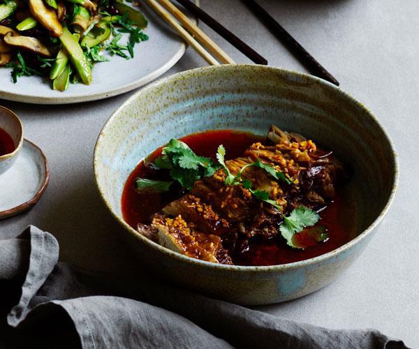 "**[Tony Tan's braised beef brisket with chilli-oil sauce](https://www.gourmettraveller.com.au/recipes/chefs-recipes/braised-beef-brisket-chilli-oil-16751|target=""_blank"")**"