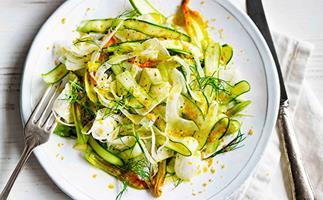 Zucchini flower, asparagus and fennel salad