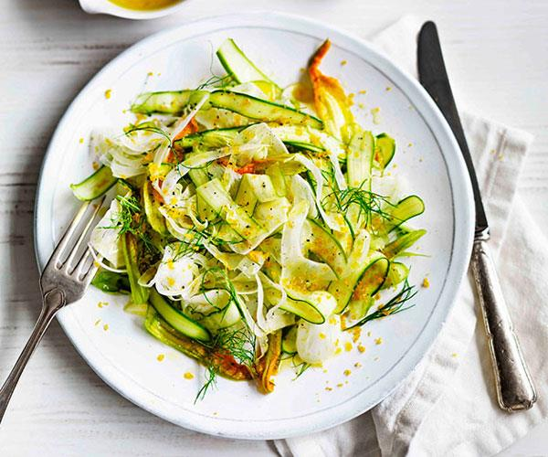 "**[Zucchini flower, asparagus and fennel salad](https://www.gourmettraveller.com.au/recipes/browse-all/zucchini-flower-asparagus-and-fennel-salad-11601|target=""_blank"")**"