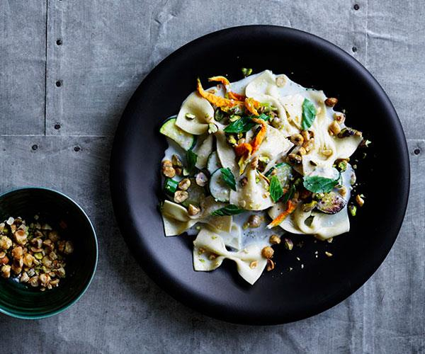 "**[Farfalle with Gorgonzola fonduta, zucchini, basil and toasted nuts](https://www.gourmettraveller.com.au/recipes/browse-all/farfalle-with-gorgonzola-fonduta-zucchini-basil-and-toasted-nuts-12906|target=""_blank"")**"