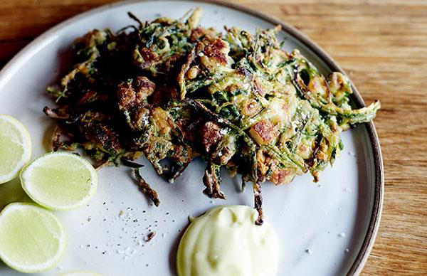 Zucchini and haloumi fritters with lemon mayonnaise