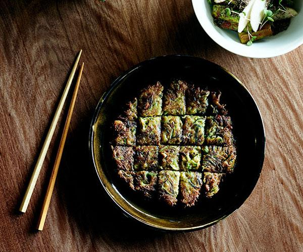 "**[Moon Park's hobak jeon (zucchini and mussels pancake)](https://www.gourmettraveller.com.au/recipes/chefs-recipes/zucchini-pancake-hobak-jeon-8080|target=""_blank"")**"
