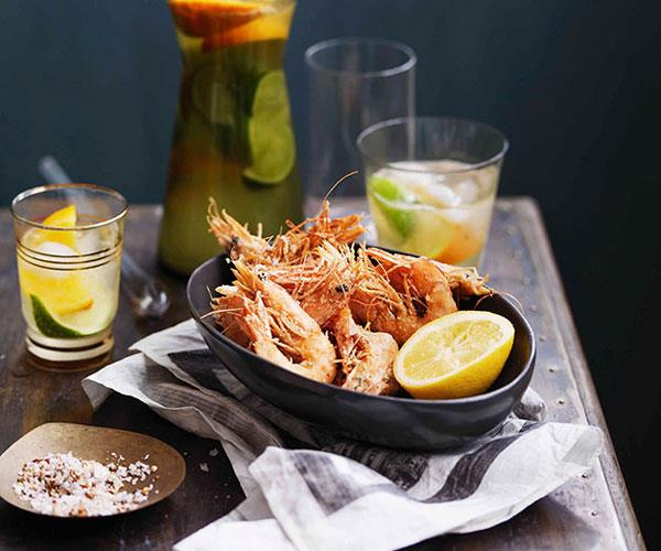 Salt and pepper prawns with lemon