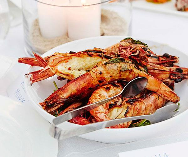 Barbecued split prawns with chervil butter