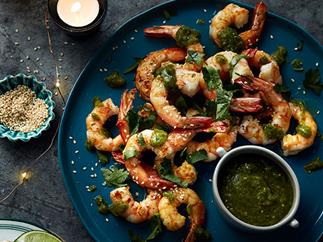 King prawns with green salsa