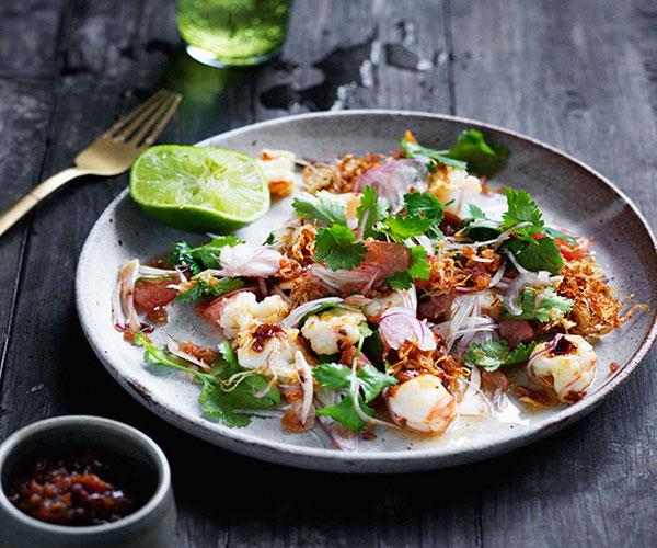 "**[Prawn and pomelo salad with roasted chilli dressing](https://www.gourmettraveller.com.au/recipes/browse-all/prawn-and-pomelo-salad-with-roasted-chilli-dressing-12693|target=""_blank"")**"