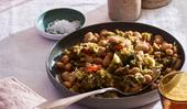 Phil Wood's braised broccoli with butter beans, chickpeas and chilli
