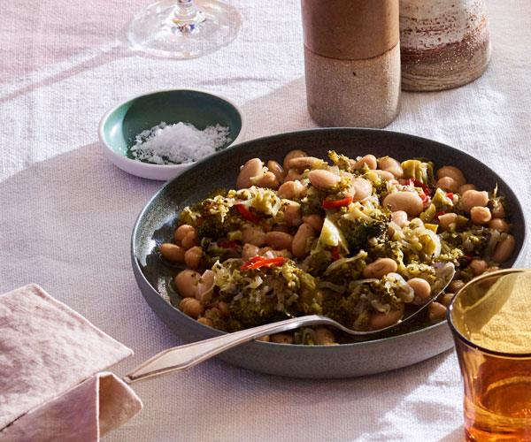Braised broccoli with butter beans, chickpeas and chilli