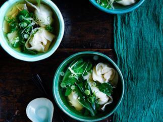 Cantonese-style prawn wonton soup