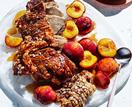Roasted pork with the best crackling and roasted nectarines