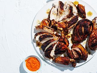 Brined barbecued turkey with spices and a piri piri sauce