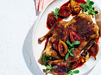 Spice-roasted duck with figs