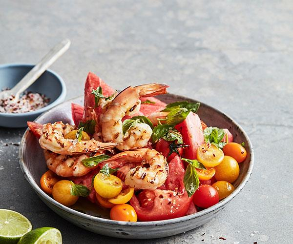 "**[Mike McEnearney's grilled prawn, watermelon and tomato salad](https://www.gourmettraveller.com.au/recipes/fast-recipes/prawn-watermelon-tomato-salad-18047|target=""_blank"")**"