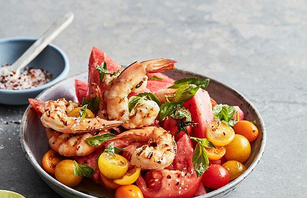 Mike McEnearney's grilled prawn, watermelon and tomato salad