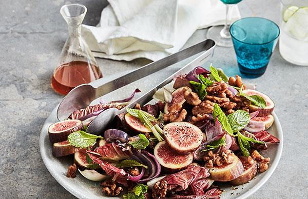 Mike McEnearney's fig salad with roast onions, walnuts and radicchio