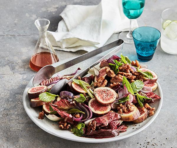 Mike McEnearney's fig salad with roast onions, walnuts and radicchio