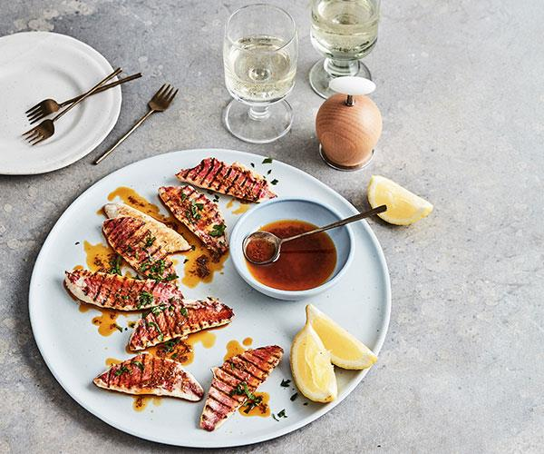 "**[Mike McEnearney's grilled red mullet with Moroccan spices](https://www.gourmettraveller.com.au/recipes/fast-recipes/grilled-red-mullet-18054|target=""_blank"")**"