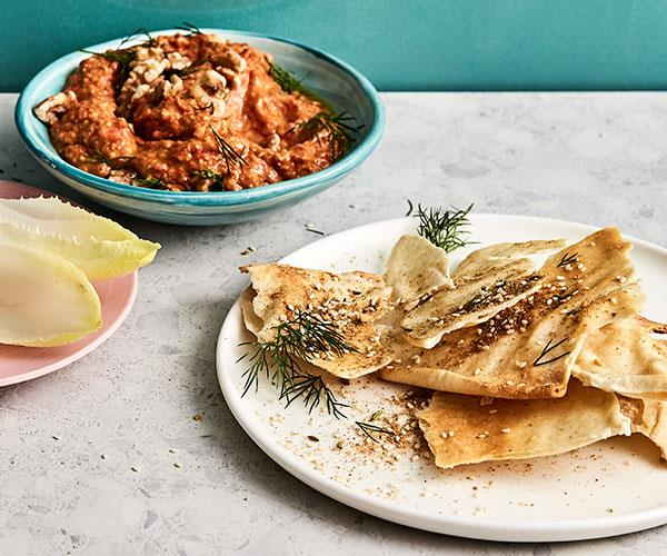 "**[Smoky eggplant and capsicum dip with pita bread](https://www.gourmettraveller.com.au/recipes/fast-recipes/eggplant-capsicum-dip-18057|target=""_blank"")**"