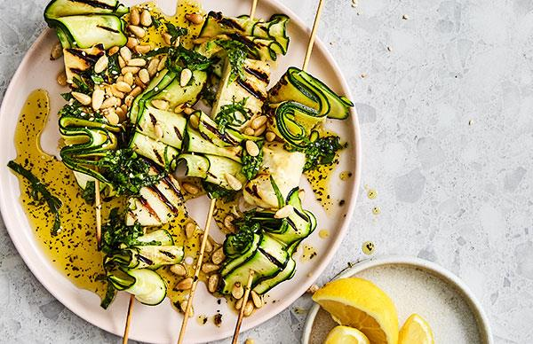 Zucchini and haloumi skewers with mint dressing
